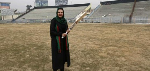 Barakzai poses for a picture at the Kabul Cricket Stadium