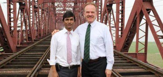 LGBT magazine Editor Xulhaz Mannan (left) with former US Ambassador to Bangladesh Dan Gordon (right).